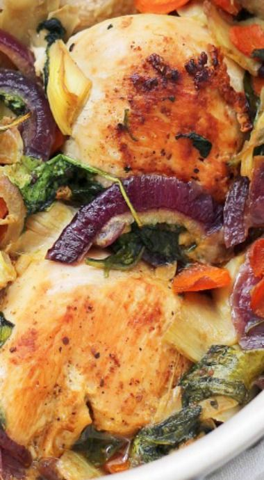 Baked Chicken with Spinach and Artichokes