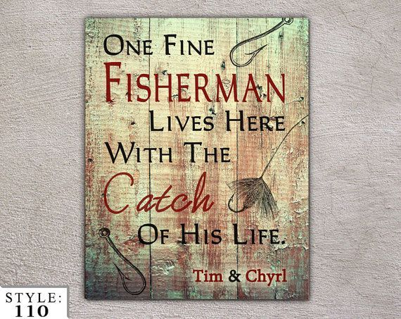 Couples Home Decor 11x14 Signage Outdoors Fishing by BlayedStudios, $24.99