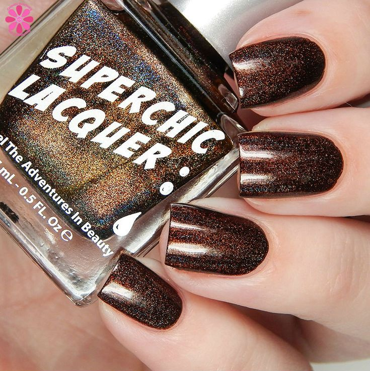 SuperChic Lacquer Urban Dictionary Collection | Cosmetic Sanctuary / Awesome Sauce is a rich, dark chocolate linear holographic