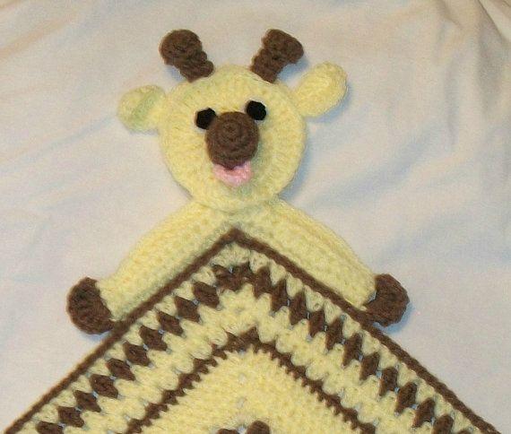 Crochet Giraffe Snuggle Blanket, Blanket, Lovie, Security Blanket, Baby Snuggle Blanket