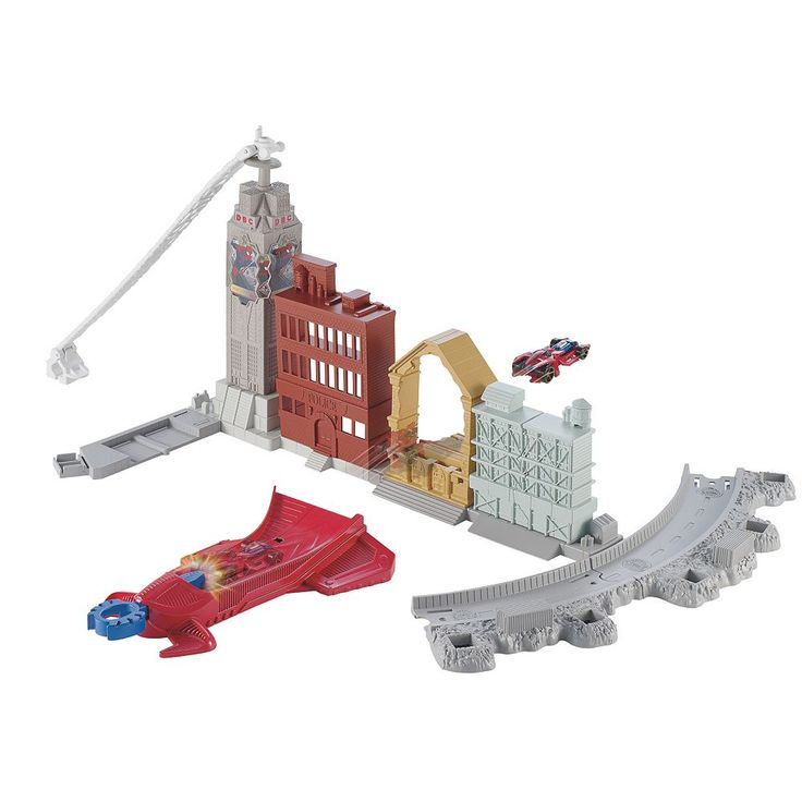 Marvel Ultimate Spider-Man Sinister 6 Spidey's Spinning Web Swing Track Set by Hot Wheels, Multicolor