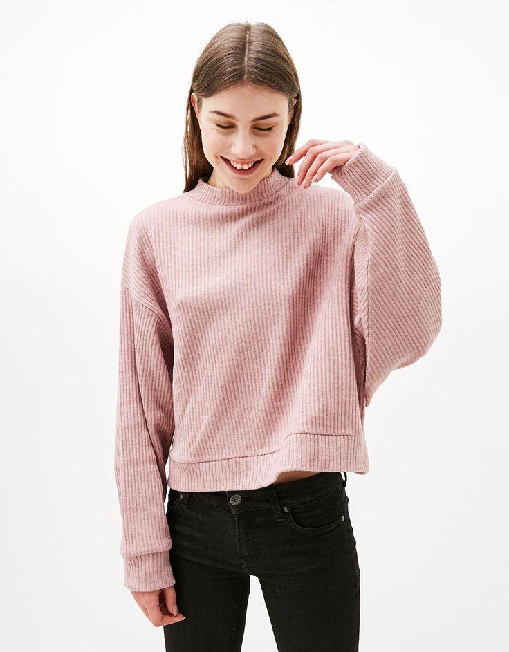 Oversized cropped ribbed sweater - Jumpers - Bershka United Kingdom