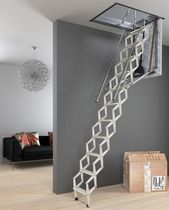 Retractable ladder / steel / accordion protection / motorized