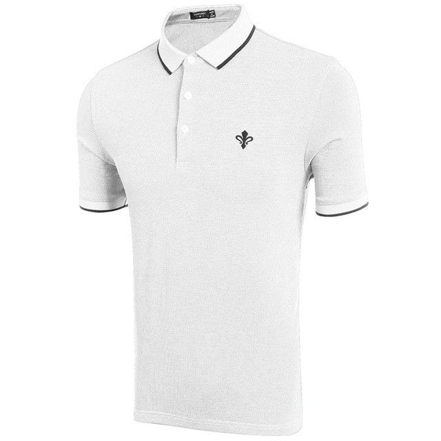 COOFANDY Polo Shirt Summer Fashion Male Ribbed O-neck Short Sleeve Solid Color Embroidery Side Slit Design Polo Shirt Men Tops