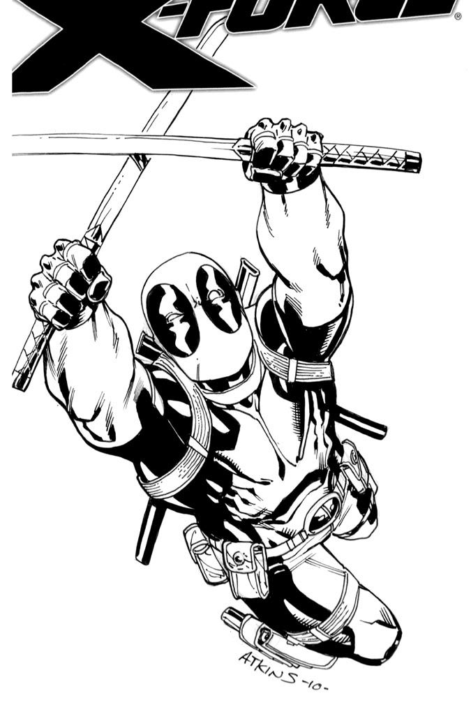 another deadpool cover on the blank x force book nycc deadpool sketch 2 - Deadpool Coloring Book