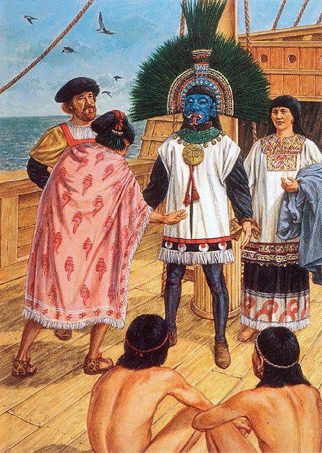 """La Pintura y la Guerra """"Cortés is venerated as the god Quetzalcoatl"""""""