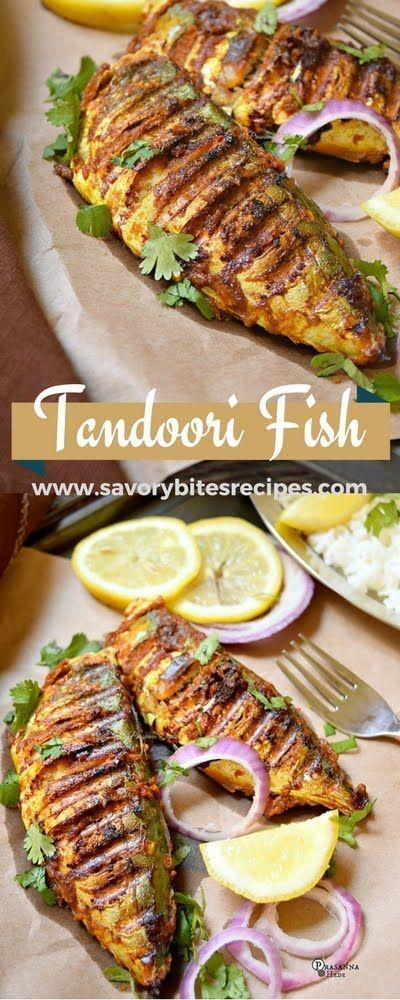 A delicious grilled Tandoori Fish / Fish Tikka for all Tandoori and Fish lovers! Try these awesome flavors. | Savory Bites Recipes
