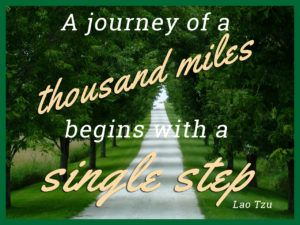 A journey of a thousand miles begins with a single step.- Lao Tzu