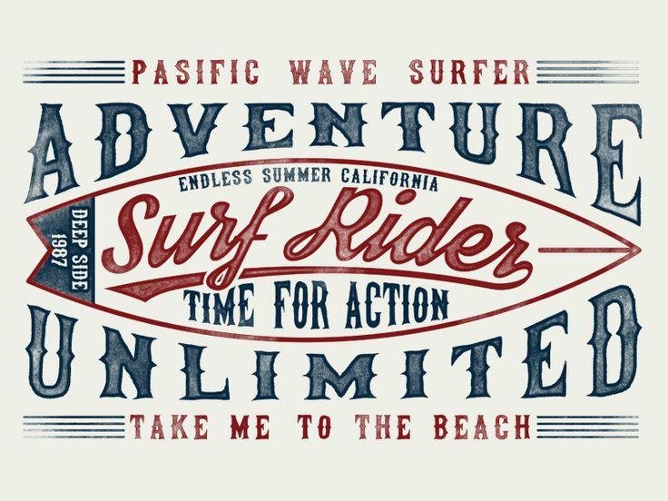 Surf typography, t-shirt graphics,