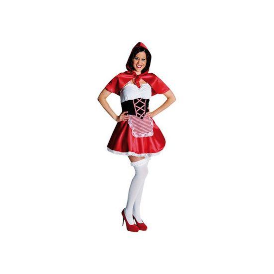 Roodkapje jurkje voor dames. Kort roodkapje jurkje inclusief rode cape met capuchon.  Met dit Roodkapje jurkje kunt u direct door naar een sprookjesfeest!
