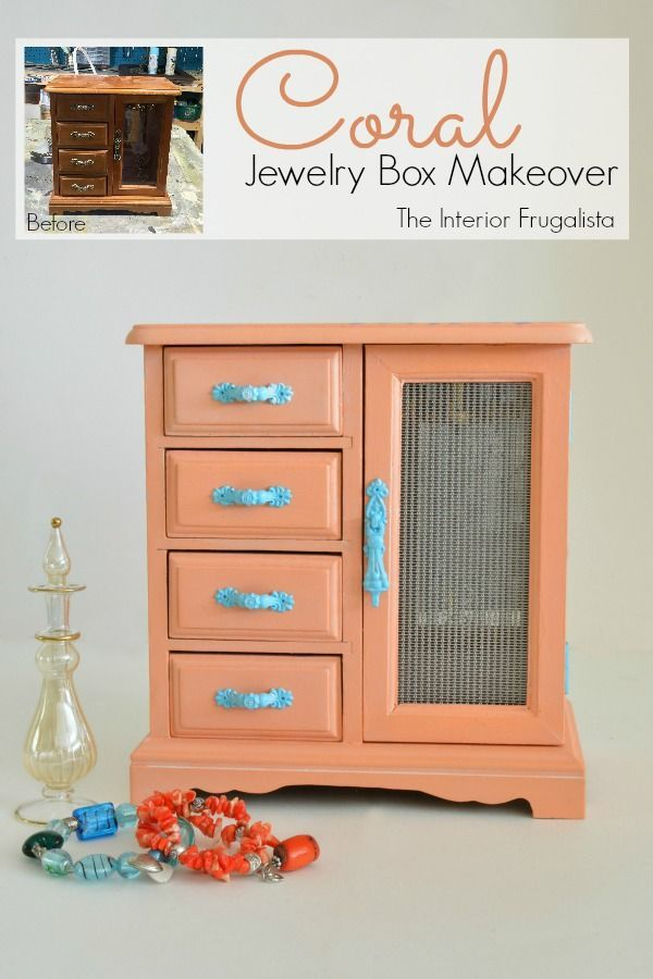 a coral jewelry box makeover with a funky flower power vibe and wire cloth door