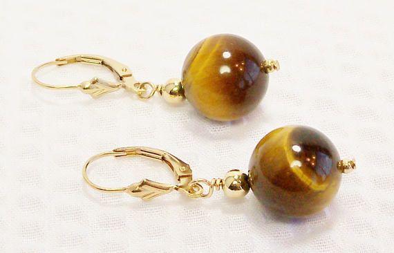 Ojo de tigre y aretes de oro pendientes de oro perla ojo de
