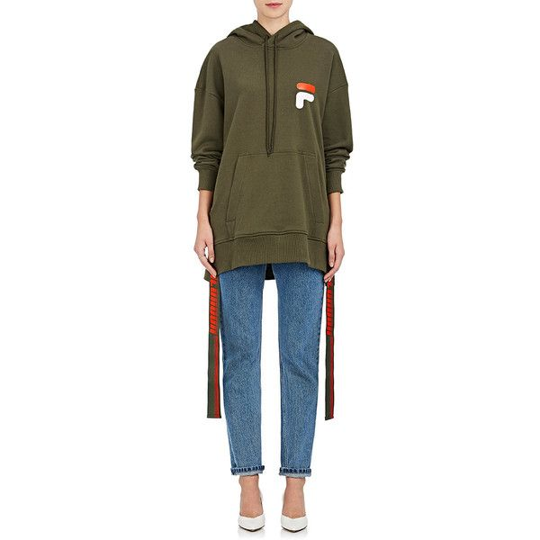 D-ANTIDOTE Women's Logo-Tabs Cotton Terry Sweatshirt ($240) ❤ liked on Polyvore featuring tops, hoodies, sweatshirts, cotton sweatshirts, logo sweatshirts, terry top, side slit top and brown sweatshirt