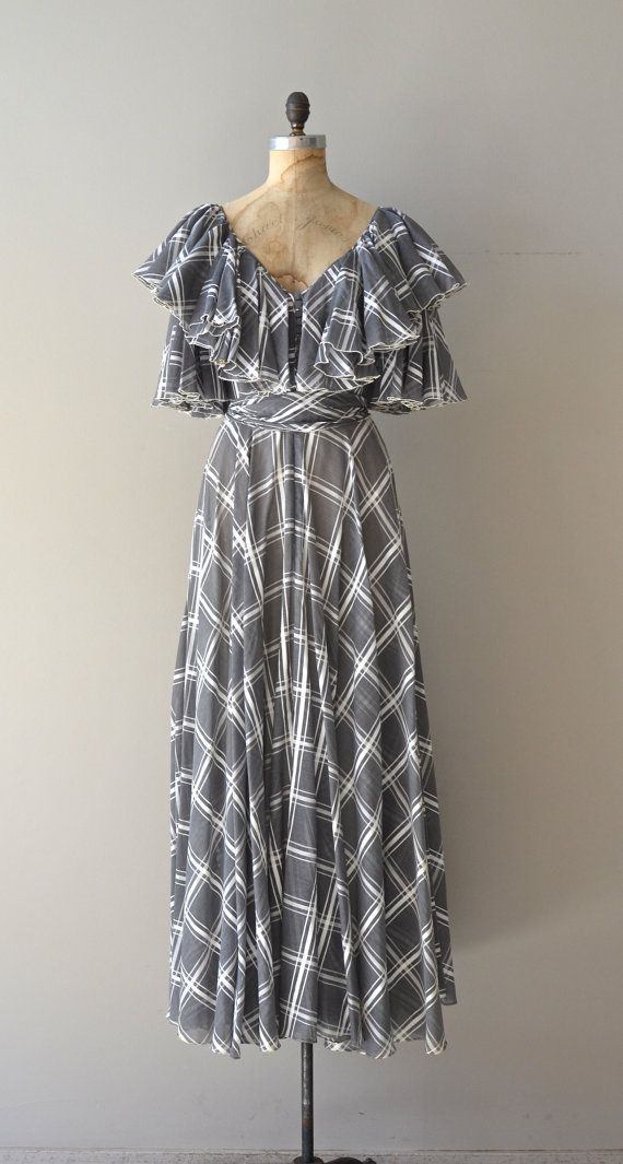 Bells and Whistles dress / gray 70s dress / vintage by DearGolden