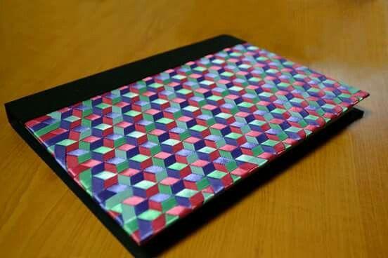 Handmade hardcover ribbon knit  notebook!