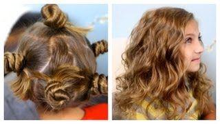 Bantu Knot Curls | Easy No-Heat Curls | Cute Girls Hairstyles, via YouTube.
