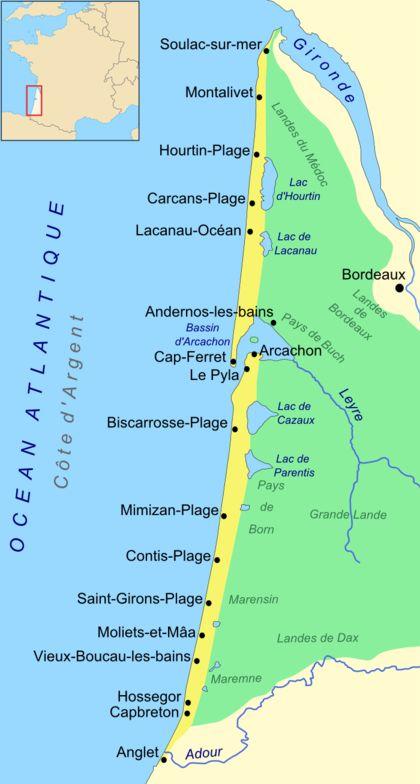 Carte de la Côte d'Argent