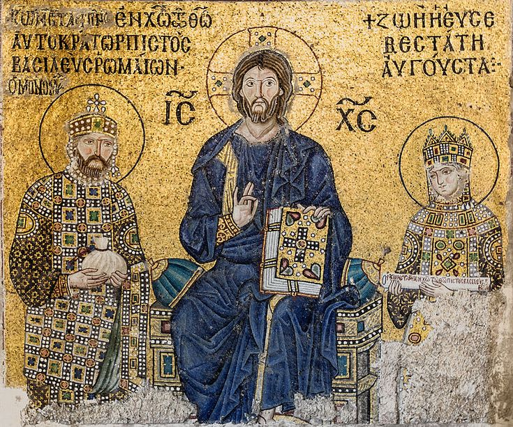 The Empress Zoe mosaics (11th-century) in Hagia Sophia (Istanbul, Turkey) Christ Pantocrator is seated in the middle. On his right side stands emperor Constantine IX Monomachos; on his left side, empress Zoe.