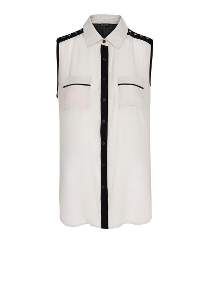 MANGO - Camisa gasa bicolor
