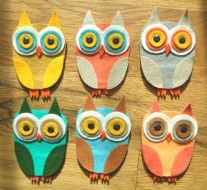 No sew felt owls: Felt Crafts, Arty Owls, Felt Owls, Kids, Fabric, Diy, Craft Ideas, Craft Owls, Owl