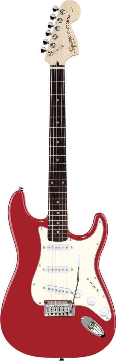 Squier Standard Stratocaster The Standard Stratocaster guitar offers legendary Fender tone with classic styling. Features include three single-coil pickups, synchronized tremolo with high-mass bridge