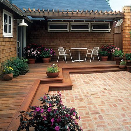 Wood deck transition to brick patio for the yard for Decks and patios design ideas