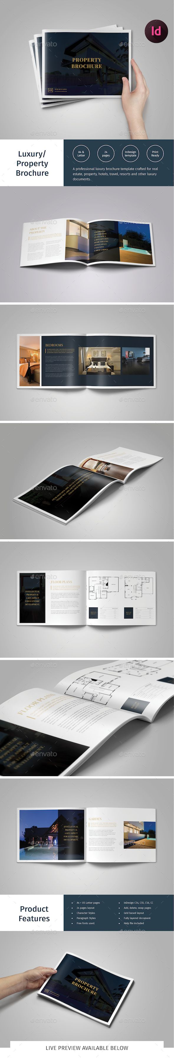Luxury Brochure/ Hotel, Property Catalog — InDesign INDD #real estate #layout • Available here → https://graphicriver.net/item/luxury-brochure-hotel-property-catalog/15059201?ref=pxcr