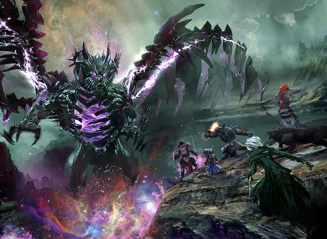 """Bataille entre les Fils du Destin et le champion de Kralkatorrik, nommé """"The Shatterer"""". Screenshot directement tiré du jeu, embelli par Daniel Dociu."""