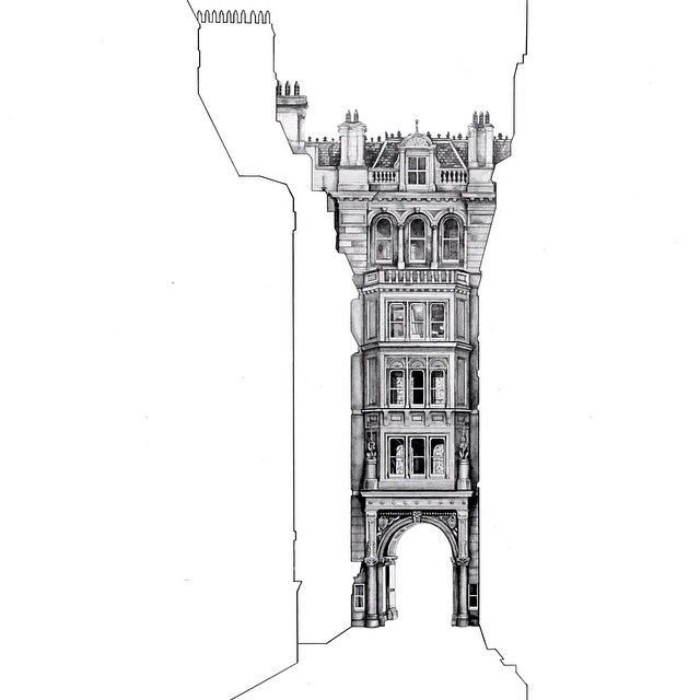 Artist Minty Sainsbury hides gorgeous architectural drawings behind empty silhouettes of other buildings. #art #drawing #architecture