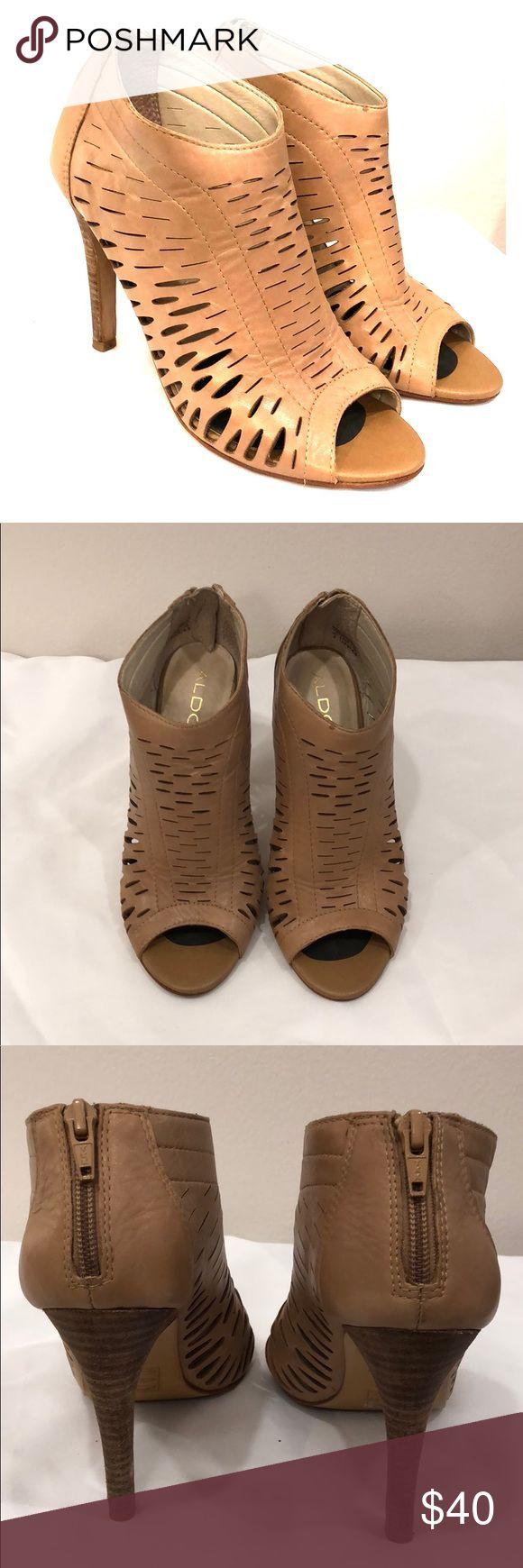 Nude Peep Toe Bootie 3 inch heel Zip up back Nude  Bootie Aldo Shoes Ankle Boots & Booties