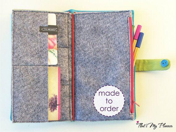 Midori Insert Standard normale Größe - grau - Filz Zip Up Brieftasche Kartenhalter - Federmäppchen - Reisende Notebook Gewebe einfügen