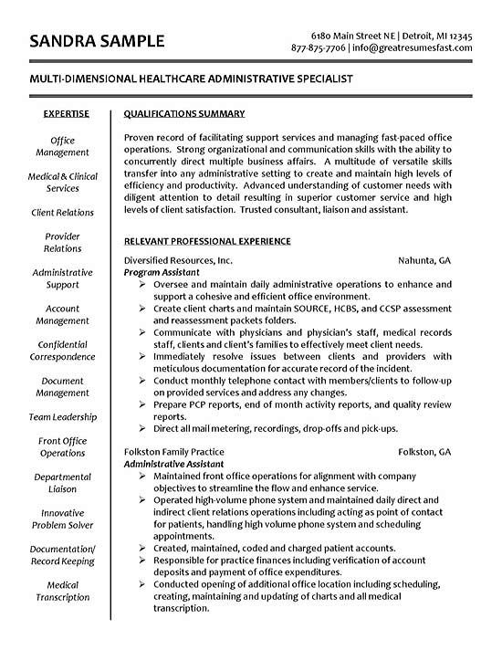 Healthcare Specialist Education Administrative assistant resume