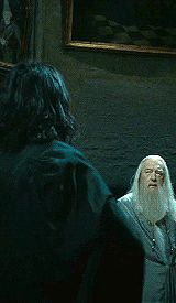 Alan Rickman as Severus Snape and Michael Gambon as Albus Dumbledore,
