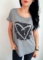 Siwa bluzka z sercem w stylu Desigual, krótki rękaw, luxna M