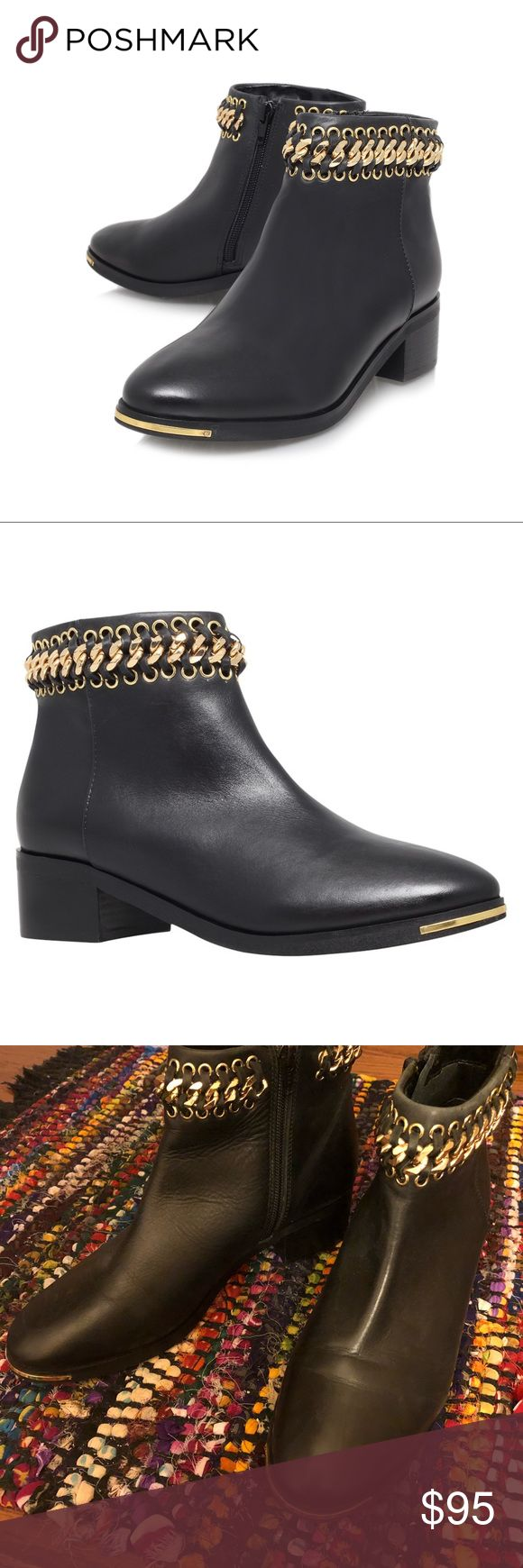 • KURT GEIGER • Speed Gold Chain Trim Booties EDGY COOL black and gold chain-trimmed booties by Kurt Geiger, a high end brand centered in the U.K!   Genuine leather upper, synthetic lining, 2 inch heel.   Worn twice! Bought them for myself, and the 8.5 was comfortable in the store, but after walking around an airport I realized they were too small for my 9-9.5 feet! Bummer! These are really beautiful and in excellent condition! Kurt Geiger Shoes Ankle Boots & Booties