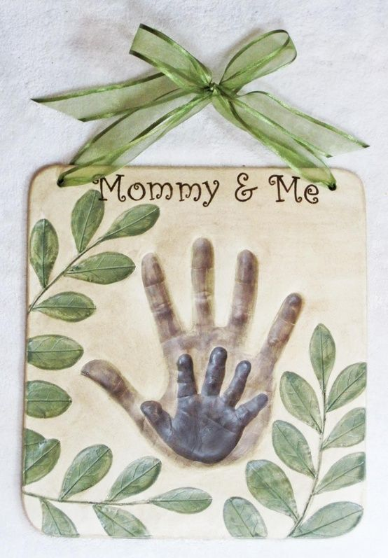 LOVE this ♥ what a Great Mother's Day memory to make together ♥  1/2 c salt  1/2 c flour  1/4 c water ( give or take )  mix together, roll, press adults hand in first, then childs hand :)  bake @ 100 degrees for 3 hours    Paint desired colors.