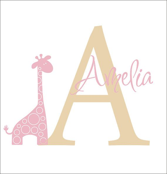 Giraffe Vinyl Decal Personalized Initial Name Monogram Sticker Decal Giraffe Animal Safari Baby Nursery Wall Decals Housewares