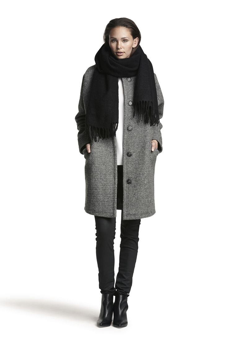 Gaia wool jacket and Gro wool scarf #black #grey #fashion #warm #winter #AW15