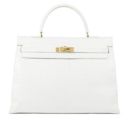 Vintage Hermès Kelly, 35cm White, Ostrich with Gold