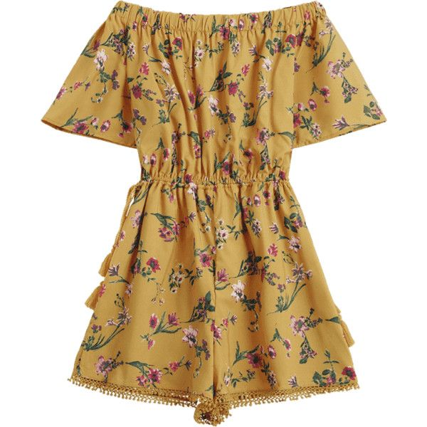 Off The Shoulder Drawstring Floral Print Romper (1.015 RUB) ❤ liked on Polyvore featuring jumpsuits, rompers, brown romper, floral print jumpsuit, off shoulder jumpsuit, brown jumpsuit and floral print romper