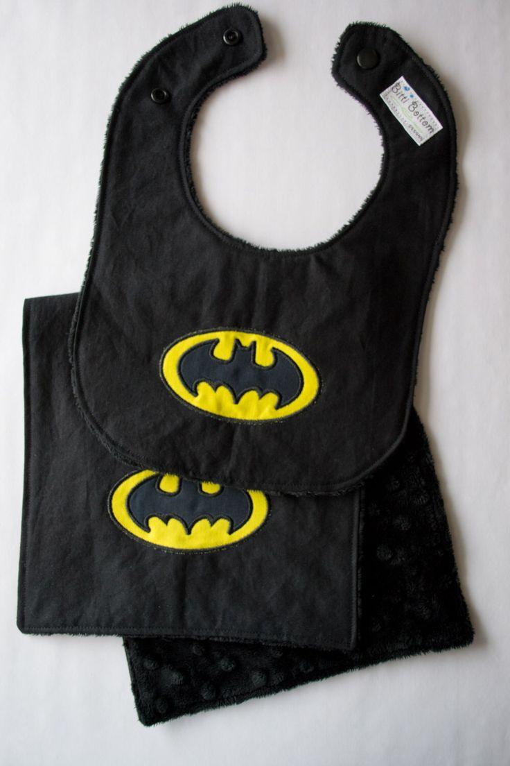 Batman Inspired Baby Bib & Burp Cloth, Super Hero Baby Bib and Burp Rag, Baby Shower Gift Ideas, Minky Embroidered Bib by BittiBottomDesigns on Etsy https://www.etsy.com/listing/165690019/batman-inspired-baby-bib-burp-cloth