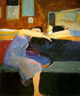 Sleeping Woman by Richard Diebenkorn, Oil on Canvas Figurative Painting: