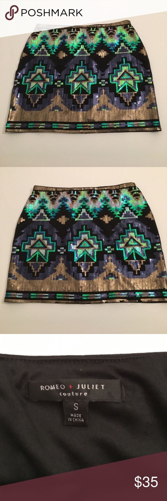 Romeo+Juliet Couture sequin miniskirt Multi color Aztec print sequin mini skirt from Romeo + Juliet Couture. Black background, elastic waist and stretch throughout. Romeo & Juliet Couture Skirts Mini