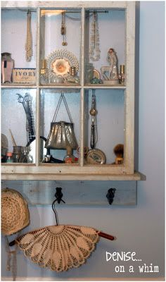 an upcycled window becomes a beautiful bathroom shelf tutorial
