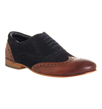 Ask the Missus Chatterbox Brogue Tan Leather Navy Suede - Smart Not a hightop, however very cool, like what the brand is doing with its brogues and desert shoes.