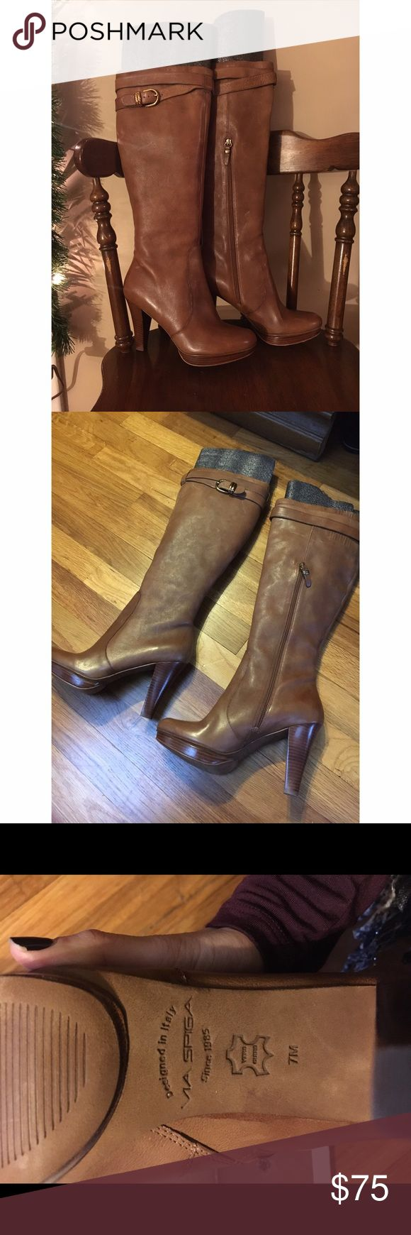 VIA SPIGA tan leather high heel platform boots Beautiful Italian leather boots.  Never worn but do not have box.  Great neutral color that can go with almost any outfit! Via Spiga Shoes Heeled Boots