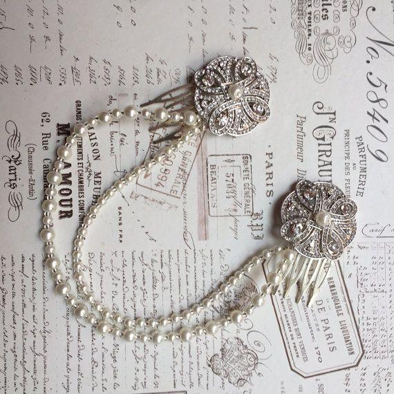 Great Gatsby headband - 1920s art deco style wedding headdress - Great Gatsby headdress - Bridal hair drape- Forehead band