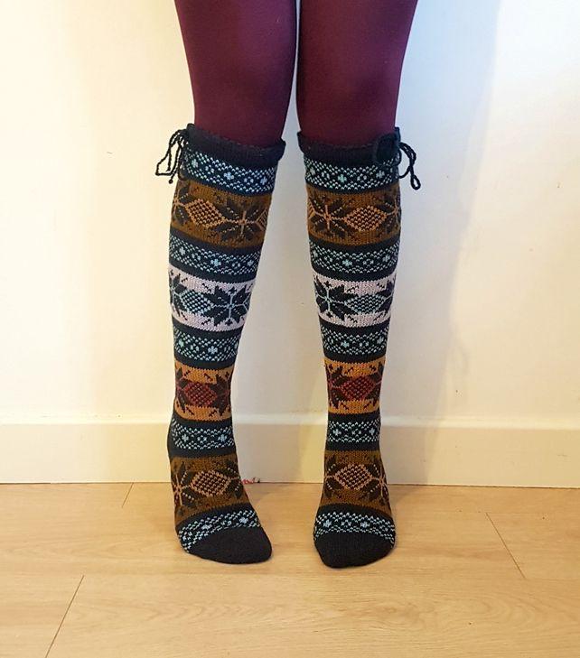 Knee length wool socks stockings colourful traditional nordic star snowflake