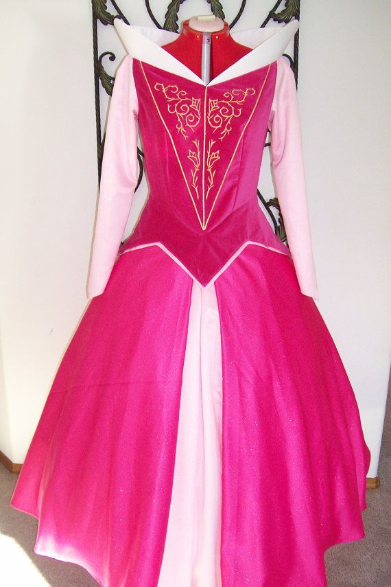 Princess Aurora Sleeping Beauty Adult Gown Custom  costume Velvet Glitter with Gold Embroidery   December Delivery