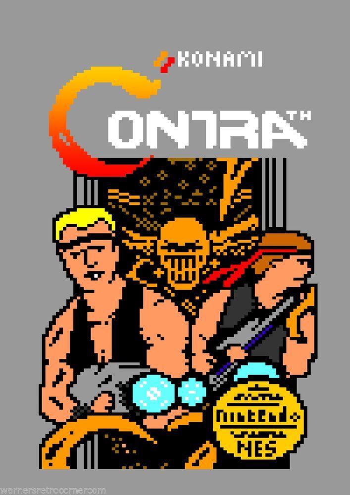 A3 80`s Nes Video Game PRINT Ceefax / teletext 8 bit Box Art Poster Contra